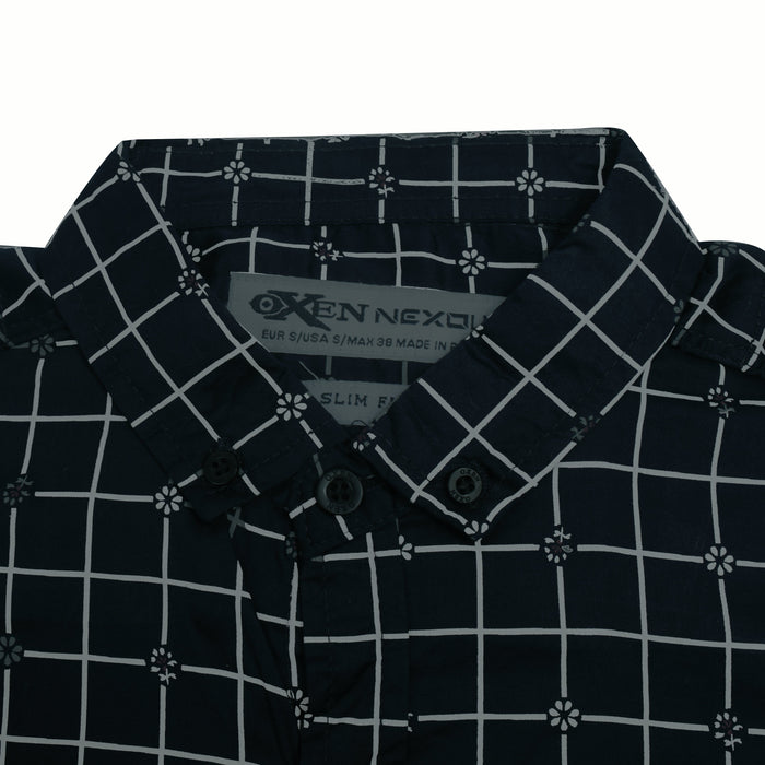 Oxen Nexoluce Premium Slim Fit Casual Shirt For Men-Dark Navy With Marl Grey Check-SP4370