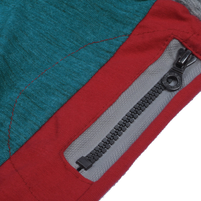 Next Slim Fit Jogger Trouser For Kids-Dark Cyan Green Melange with Red & Light Maroon Panels-SP2597
