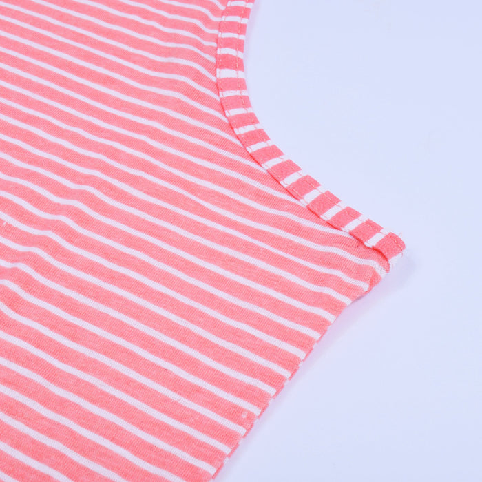 U.S Polo Sleeve Less Tank Top For Women-Pink Striper-NA11482