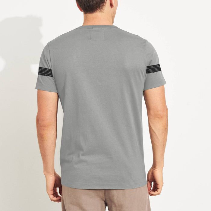 NK Summer Crew Neck Tee Shirt For Men-Grey With Black lining Panel-SP3043