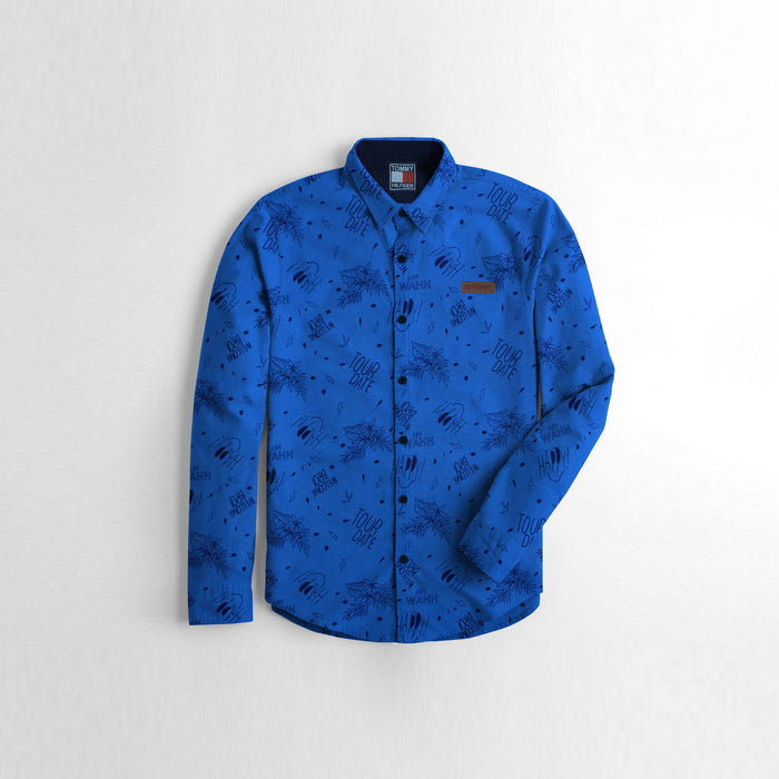 TH Premium Slim Fit Casual Shirt For Boys-Blue Allover Print-NA12014