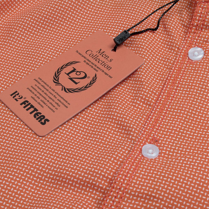 R2 Fitters Premium Slim Fit Casual Shirt For Men-Coral Red-RCS84-290