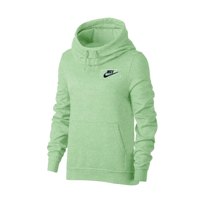 Fleece Funnel Neck Pullover Hoodie For Men-Parrot Green Melange With Navy Embroidery-NA12719