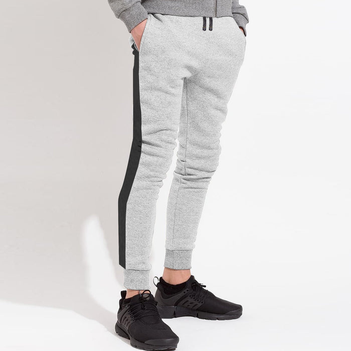 Next Slim Fit Jogger Trouser For Kids-Grey Melange with Charcoal Panels-SP2601