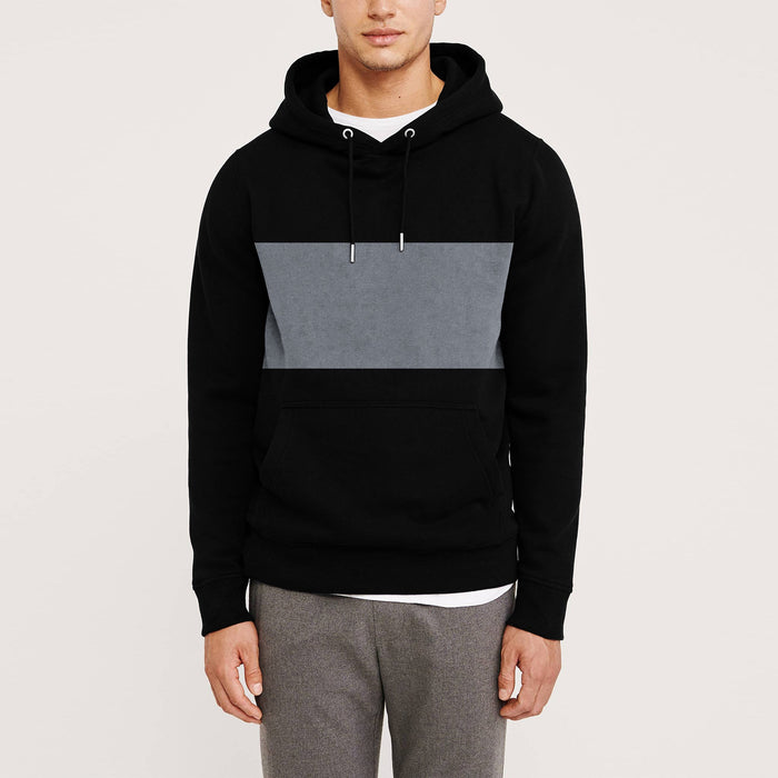 Next Terry Fleece Pullover Hoodie For Men-Black With Grey Panel-NA10618