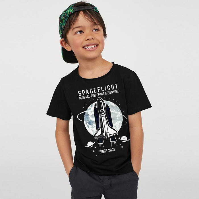 Premium Boy Crew Neck Half Sleeve Tee Shirt For Kids-Black-NA11473