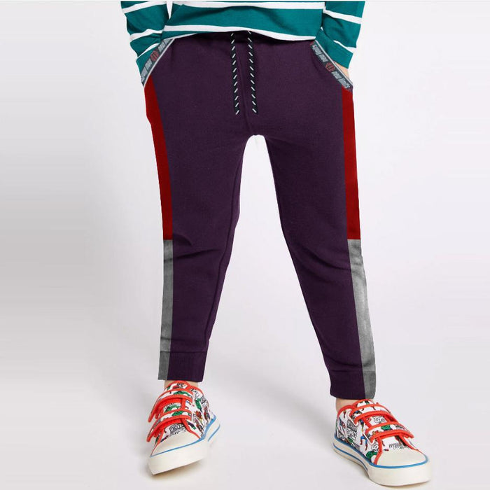 Next Slim Fit Jogger Trouser For Kids-Purple with Red & Red Panels-SP2639