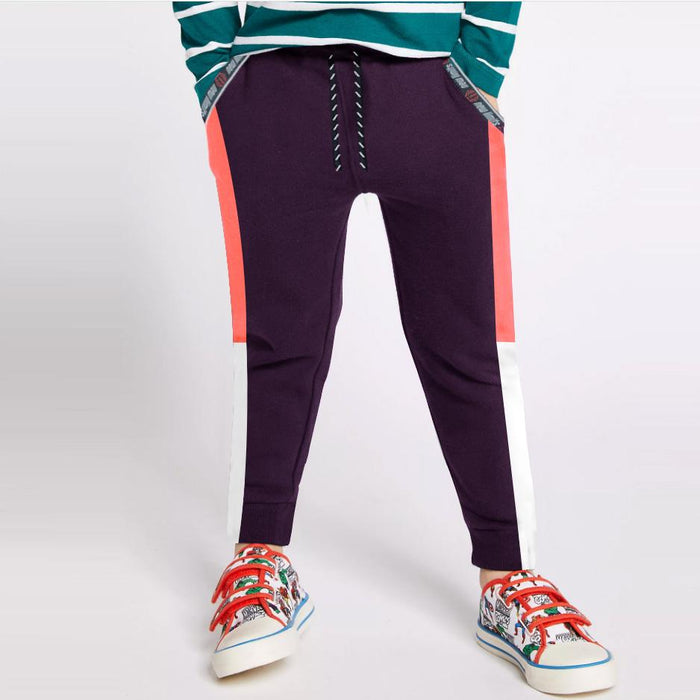 Next Slim Fit Jogger Trouser For Kids-Purple with Laim Pink & White Panels-SP2663