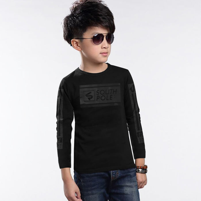 South-Pole Long Sleeve Tee Shirt For Kids-Black-BE12561