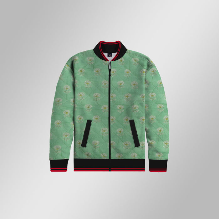 Quilted Zipper Baseball Jacket For Kids-Green & Allover Print-NA12866