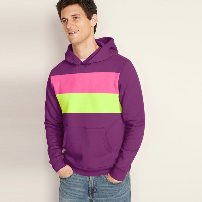 New Stylish Fleece Pullover Hoodie For Men-Scarlet With Light Pink & Parrot Green Panels-SP1633