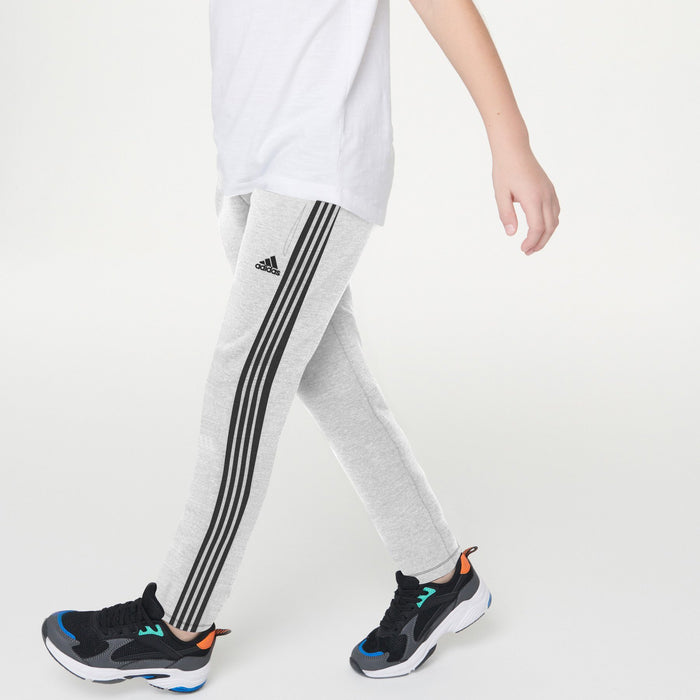 brandsego - Adidas Single Jersey Regular Jogger Trouser For Kids-Grey Melange With Stripes-BE8703