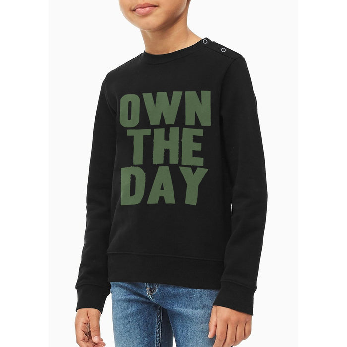 Baby Club Terry Fleece Sweatshirt For Kids-Black with Print-BE12832