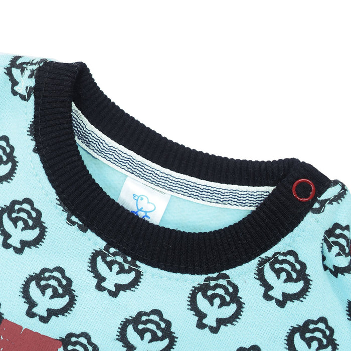 Baby Club Terry Fleece Sweatshirt For Kids-Light Sea Green with Allover Dotted Print-BE12818