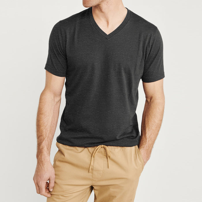 brandsego - Beverly Hills V Neck Half Sleeve Tee Shirt For Men-Charcoal Melange-BE8875