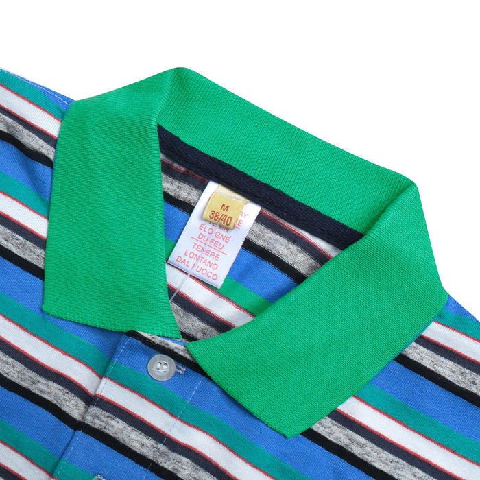Big Ten Stylish Summer Polo Shirt For Men-Cyan with Multi Stripe-BE11452