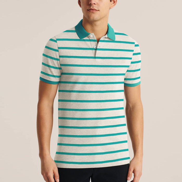 Big Ten Stylish Summer Polo Shirt For Men-Off White Melange with Striped-BE11411