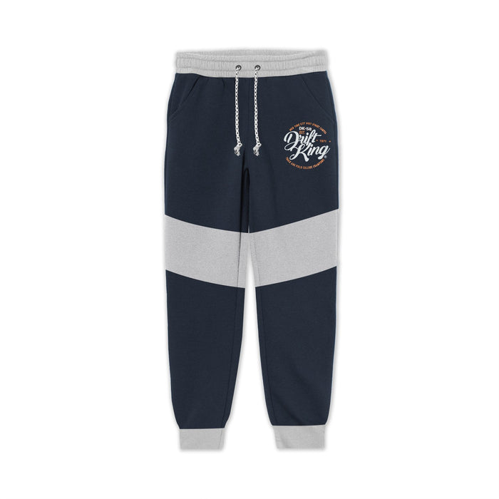 Terry Fleece Slim Fit Jogger Trouser For Kids-Navy with Grey Panel-BE13335