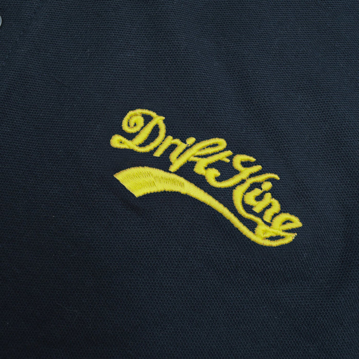 Drift King Summer Polo Shirt For Men-Dark Navy With Yellow Embroidery-BE12427