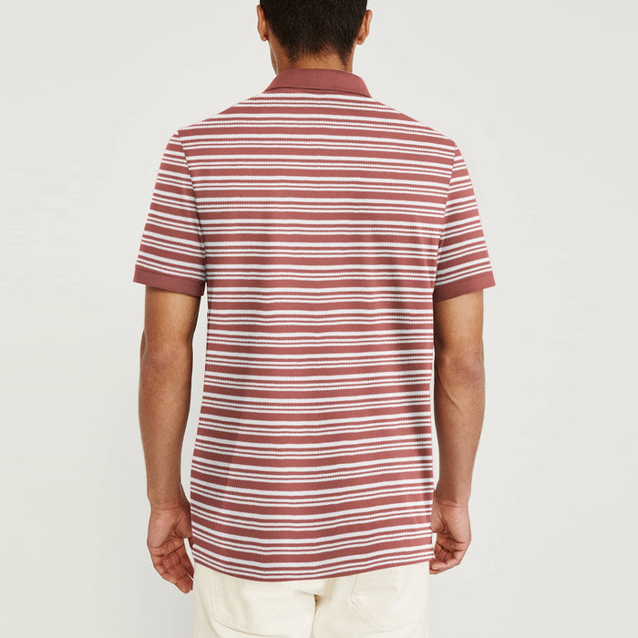GAP Stylish Summer Polo Shirt For Men-Dark Indian Red with White Striped-BE11393