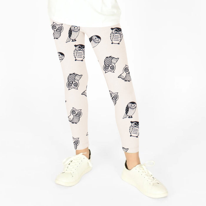 Guess Stylish Legging For Girls-Light Peach with Owl Print-BE12308
