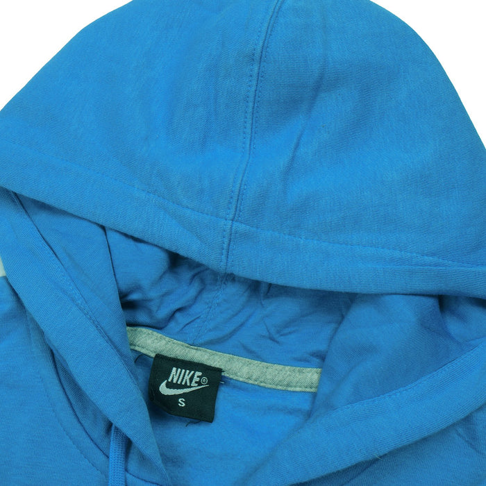 NK Fleece Zipper Hoodie For Men-Dark Sky Blue with White Embroidery-BE13091
