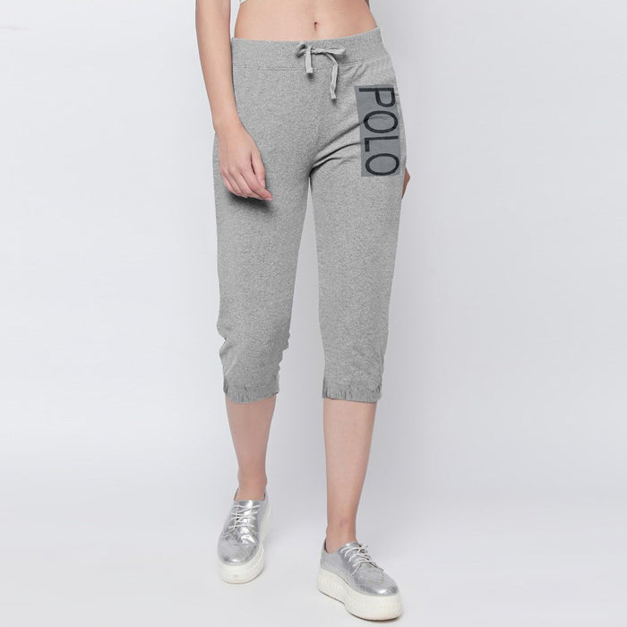 Fleece Slim Fit 1/3 Capri For Ladies-Grey-NA9932