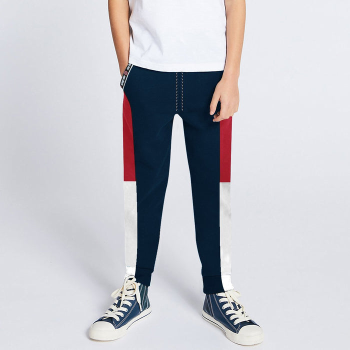 Next Slim Fit Jogger Trouser For Kids-Dark Navy with Red & White Panels-SP2610