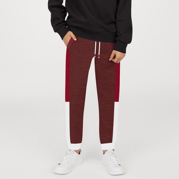 Next Slim Fit Jogger Trouser For Kids-Burgundy Melange with Red & White Stripe-BE11278
