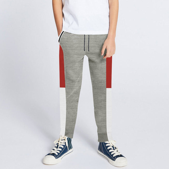 Next Slim Fit Jogger Trouser For Kids-Grey Melange with Red & White Panels-SP2642