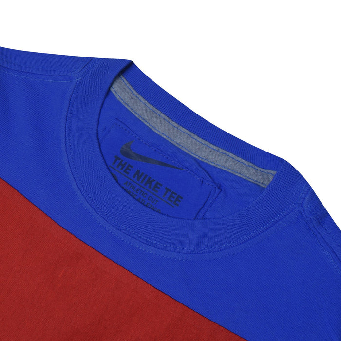 NK Crew Neck Single Jersey Short Sleeve Long Tee Shirt For Boys-Dark Blue with Red & Grey Panels-BE11860