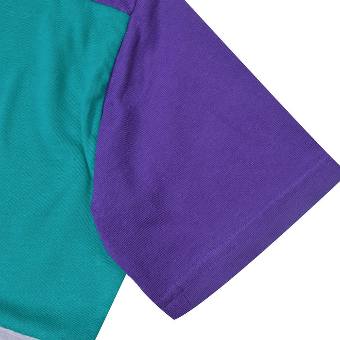 NK Crew Neck Single Jersey Short Sleeve Long Tee Shirt For Boys-Dark Purple with Cyan Blue & Grey Panels-BE11953