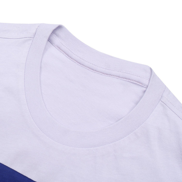 Crew Neck Single Jersey Tee Shirt For Kids-Light Purple with Blue Panels-BE12041