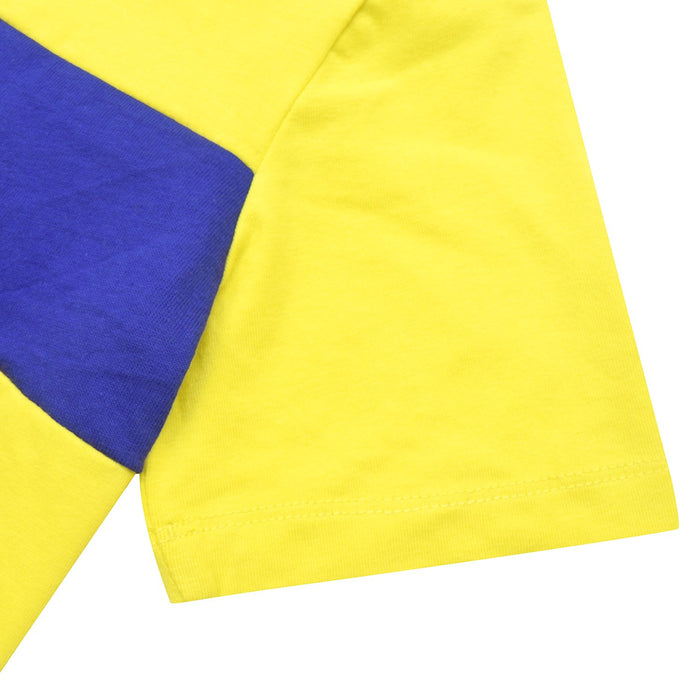 Crew Neck Single Jersey Tee Shirt For Kids-Yellow with Dark Blue Panels-BE12052