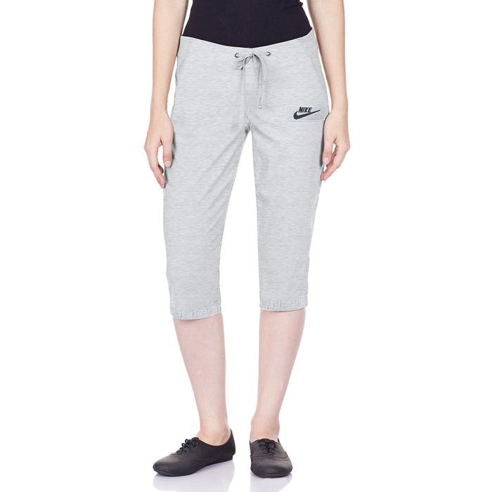 NK Fleece Capri For Ladies-Grey Melange With Navy Embroidery-BE13686