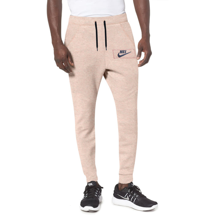 NK Fleece Slim Fit Pant Style Jogging Trouser For Men-Peach Melange with Navy Embroidery-BE12947