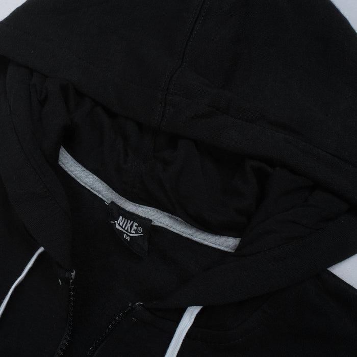 NK Fleece Zipper Hoodie For Boys-Black with White Embroidery-NA12744