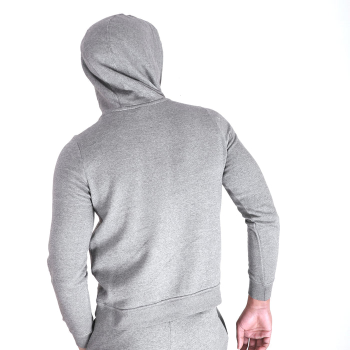 NK Fleece Zipper Hoodie For Men-Charcoal Melange with White Embroidery-BE14096