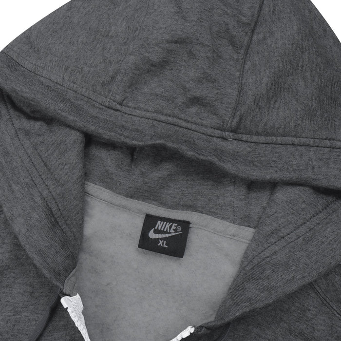 NK Fleece Zipper Hoodie For Men-Charcoal Melange with White Embroidery-BE13001