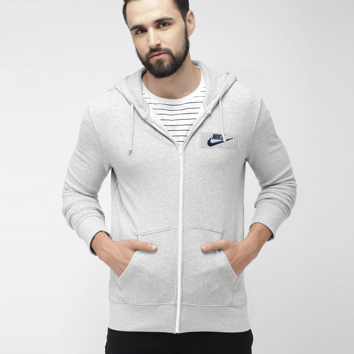 NK Fleece Zipper Hoodie For Boys-Grey Melange with Navy Embroidery-NA12748
