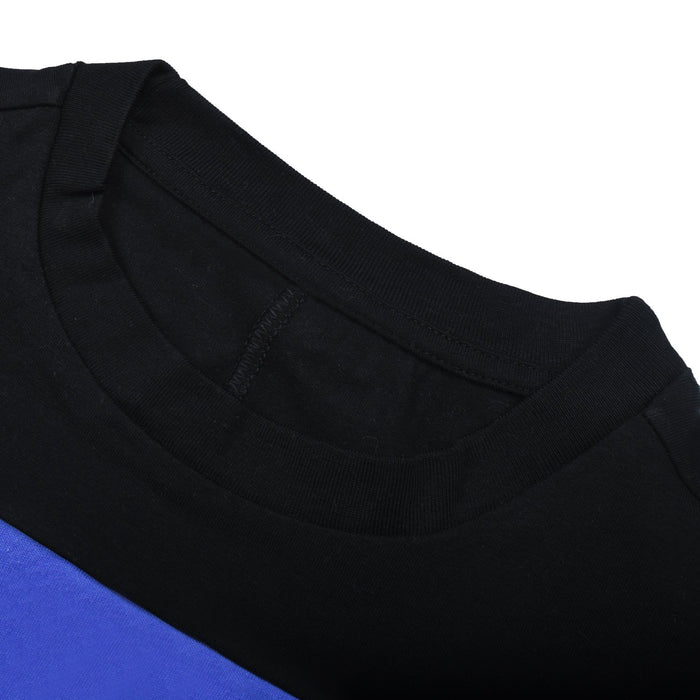 NK Short Sleeve Shirt For Women-Skin with Black & Blue Panels-BE12239
