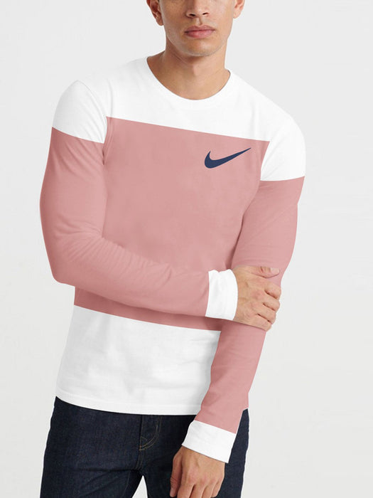 NK Summer Crew Neck Long Sleeve Tee Shirt For Men-White with Dark  Carrot Pink Panels-BE12619