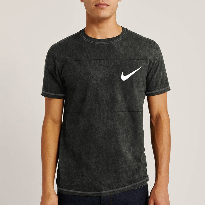 NK Summer Crew Neck Tee Shirt For Men-Black Faded-BE12148