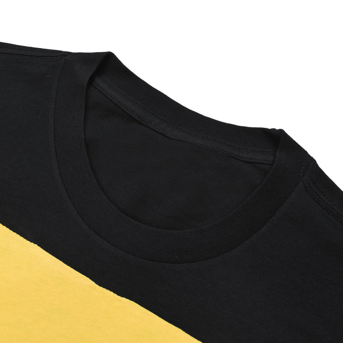 NK Summer Crew Neck Tee Shirt For Men-Black with Yellow Print-BE12629