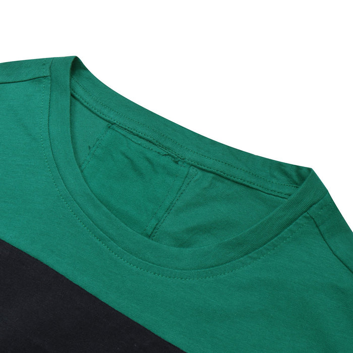 NK Summer Crew Neck Tee Shirt For Men-Dark Green with Black & Light Green Panel-BE12016