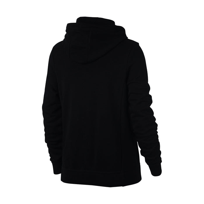 NK Terry Fleece White & Black Embroidery Zipper Hoodie For Ladies-Black-BE10240