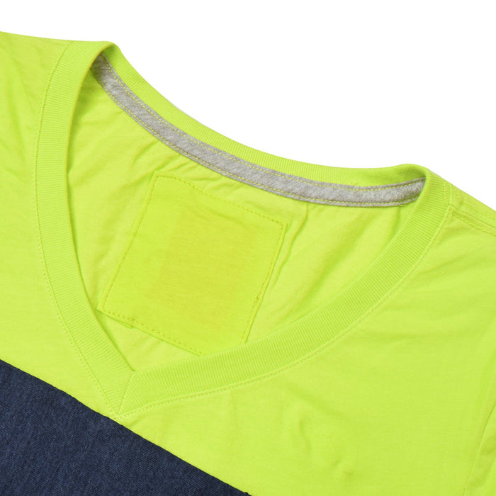 NK V Neck Single Jersey Short Sleeve Long Tee Shirt For Girls-Lime Green with Navy & Grey Melange Panels-BE11963