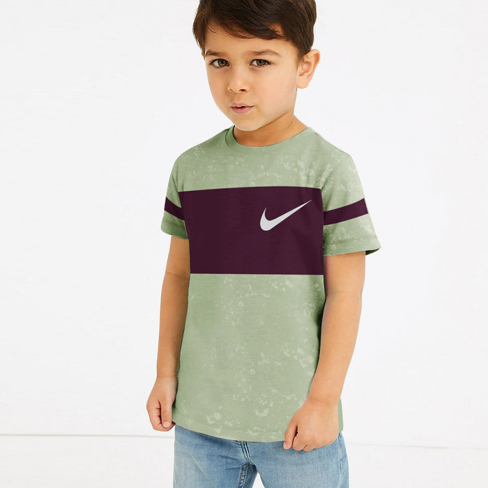 NK Crew Neck Single Jersey Faded Tee Shirt For Kids-Greps & Indigo Panel-SP3159