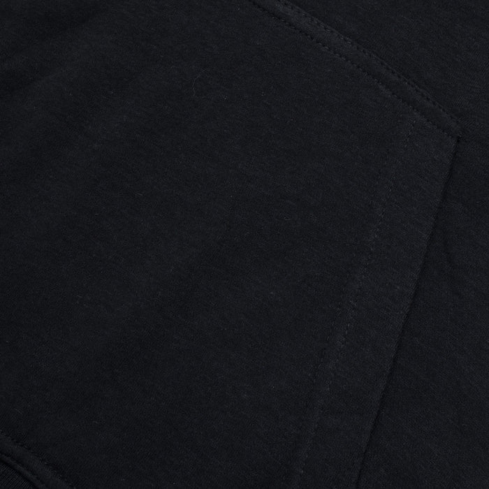 Pull & Bear Fleece Pullover Hoodie For Men-Black With Blue Panel-BE13685
