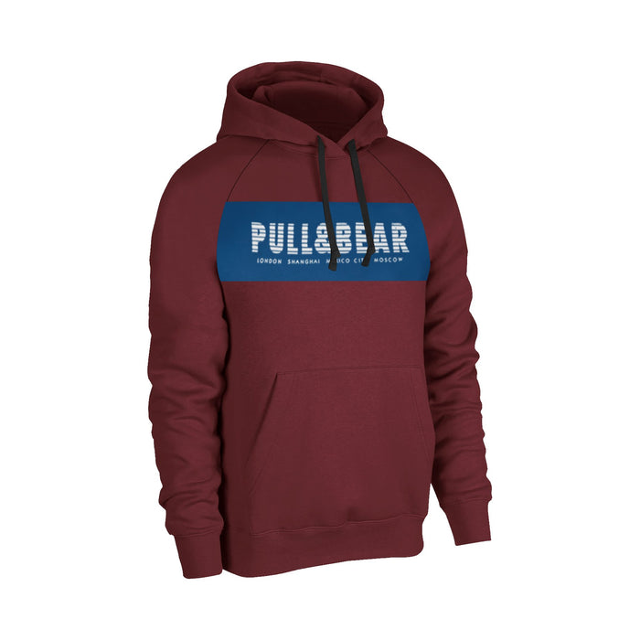 Fleece Pullover Hoodie For Men-Dark Maroon With Prussian Blue Panel-BE13579